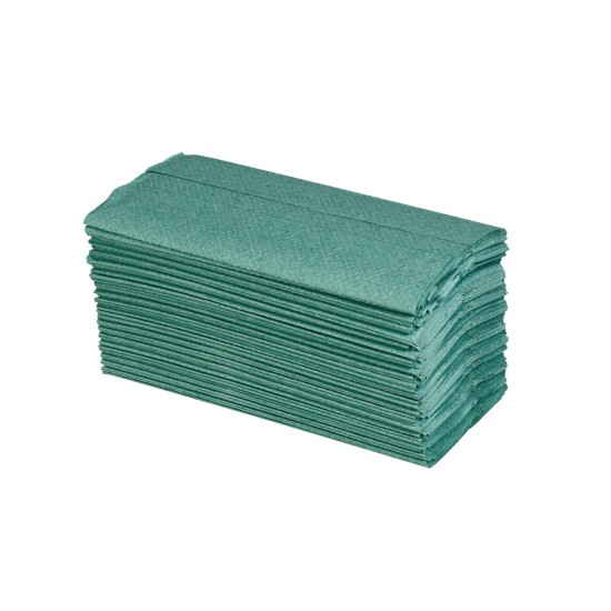 Bowcare Essentials 1ply Green C-Fold Towel