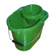 Plastic Mop Bucket And Wringer Green 12L