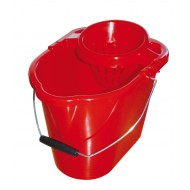 Plastic Mop Bucket And Wringer Red 12L