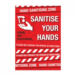 A4 Covid-19 Sanitise Your Hands - 1.2mm Polyprop with adhesive backing