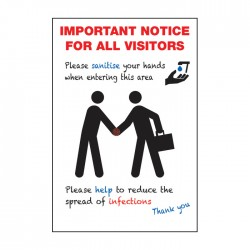 A4 Covid-19 Important Notice For All Visitors - Repositionable vinyl